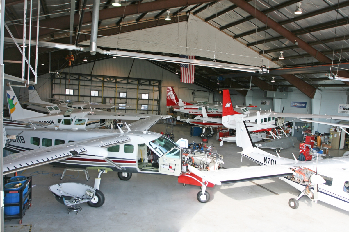 Inside Hangar 1 at Wipaire's South St. Paul headquarters.