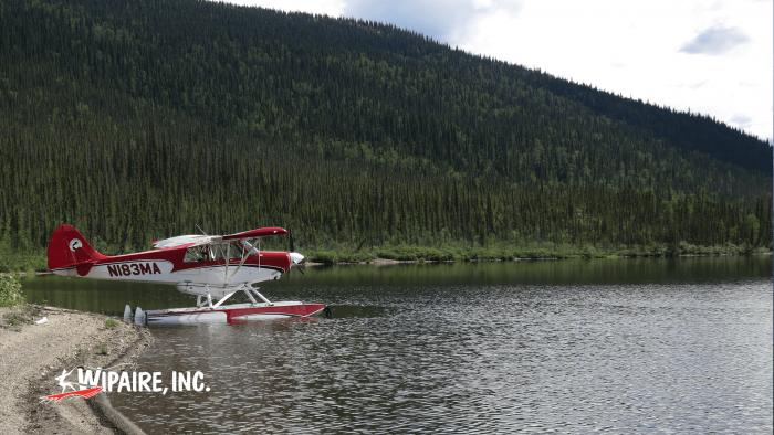 Aviat Husky on Wipline 2100 Amphibious Floats in Alaska