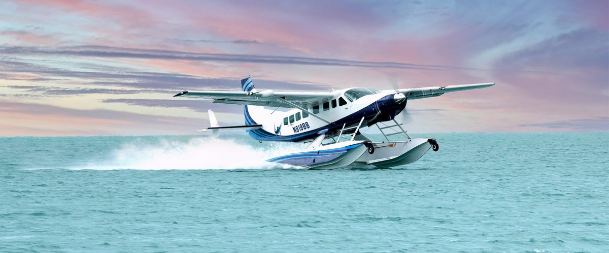 Grand Caravan on Wipline 8750 Floats - On Step with Sunset